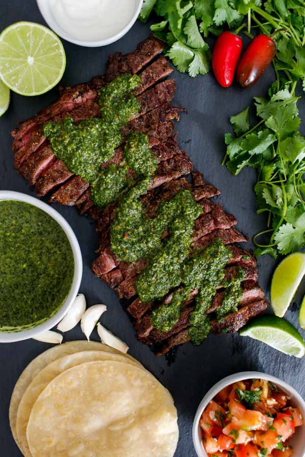 easy and tasty chimichurri steak tacos